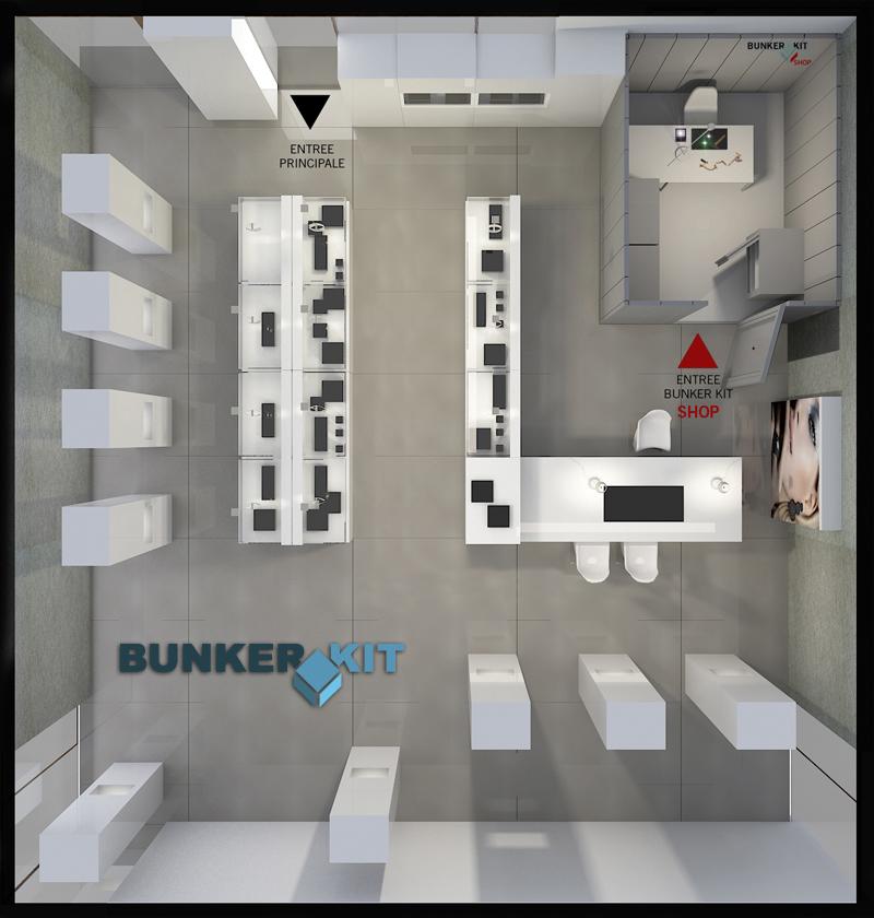 Bunkerkit aménagé vue dessus