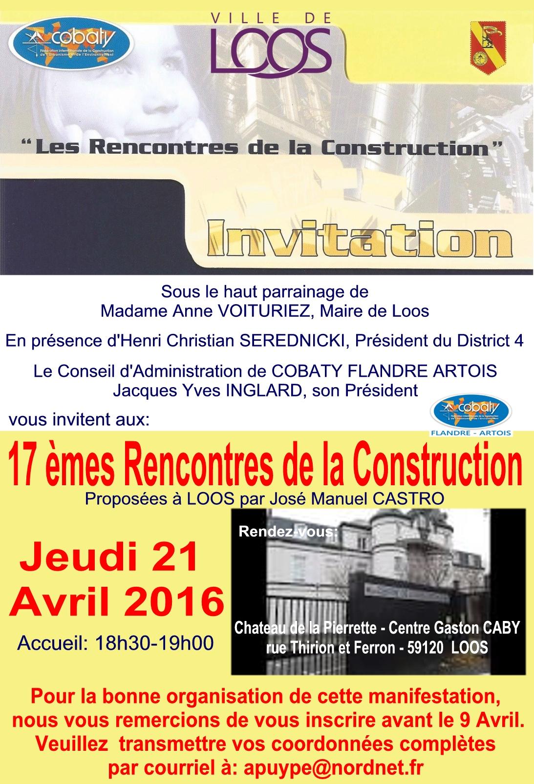 2016 Invitation Rencontres de la construction COBATY